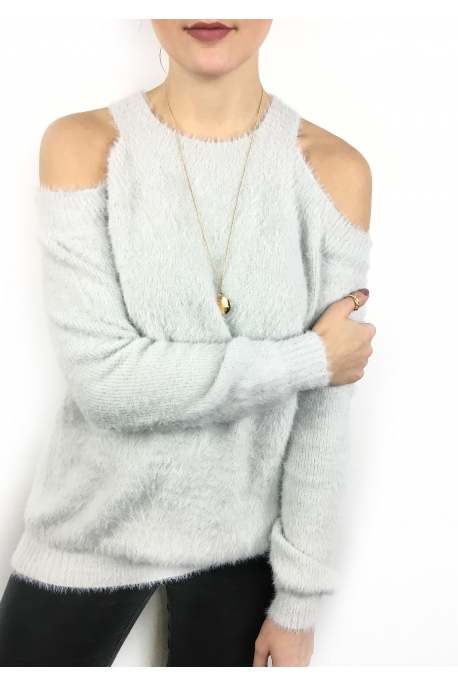 pull-douillet-epaules-denudees-gris-clair-col-rond