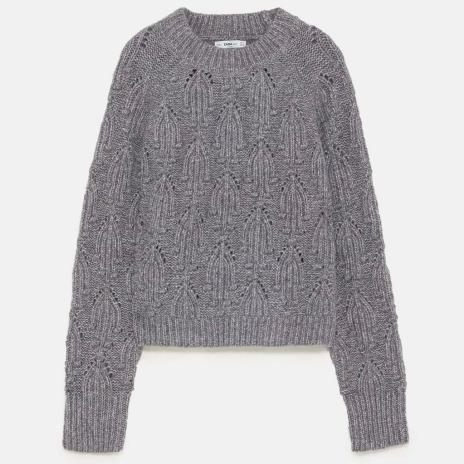 pull gris maille cotelées Zara