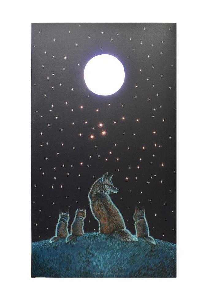 Grand panneau led - famille renards