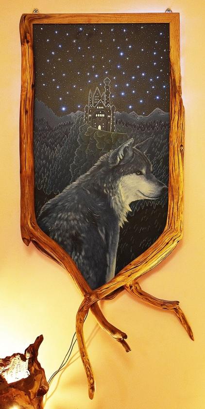 Loup château - tableau led et branches